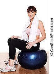 Woman Witrh Pilates Ball