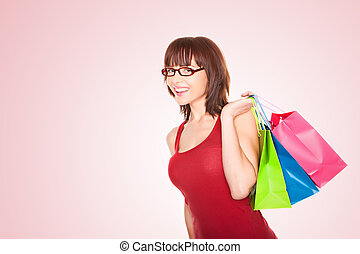 Shopper Walking With Colourful Carrier Bags