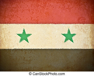 old grunge paper with Syria flag background