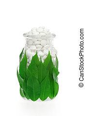Herbal supplement pills in bottle