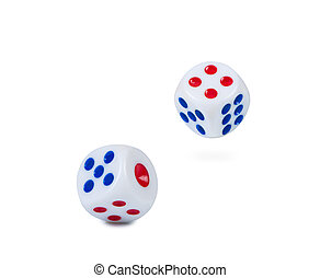 Flying dice on a white background - Two flying dice on a...