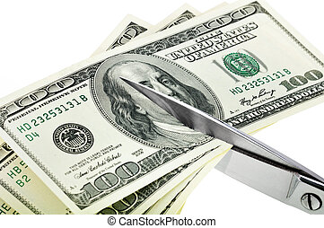 Business concept. Dollars are cutting with scissors. -...
