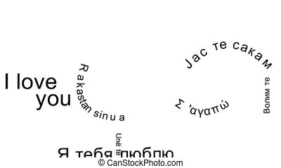 I Love You - Flying words I Love You in the languages...