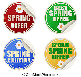 Best spring offers stickers set - Stickers set with text...