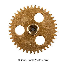 Gear - Macro view of gear isolated over white background