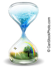 winter and summer - hourglass with winter and summer on a...