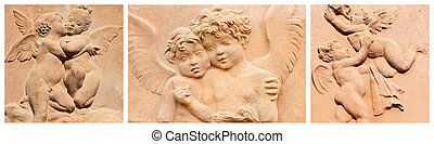 banner with angelic images in tuscan terracotta -...