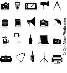 Photo collection of icons. - Icons set of photo equipment...