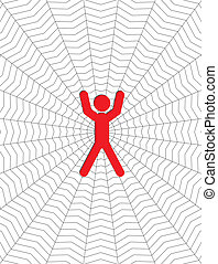 man entangled in a cobweb vector illustration