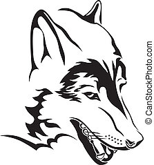 wolf head - The contour image of the wolf's head
