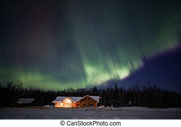 Activo, norteño, luces, exhibición, Alaska