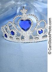 juguete, tiara, diamantes, azul, gema, como, princesa,...