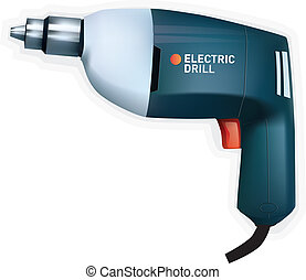 Electric drill, vector