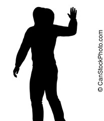 Person in Hoodie waving - Silhouette of a person wearing a...
