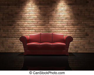 Red leather sofa near a brick wall