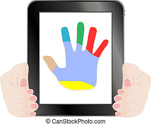 Black vector tablet pc with hand on the screen
