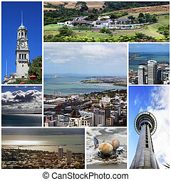 New Zealand - Collage from 8 photos city Auckland. New...