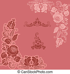 floral gzel - Floral ornament hand made Vector image