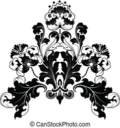 floral bw - Floral designs in antique style Black and white...