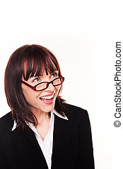 Laughing Businesswoman Wearing Spectacles