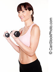 Fit Woman Working With Dumbbells