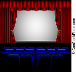 movie theater - illustration of a movie theater with blue...