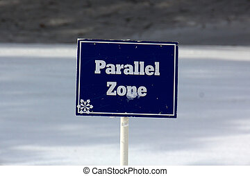 Blue Parallel Zone Sign on the Ski Slopes - Sign marking the...