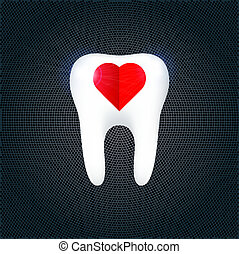 The tooth on the metal background. Vector Illustration