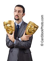 hombre de negocios, máscara, Ocultar, el suyo,...