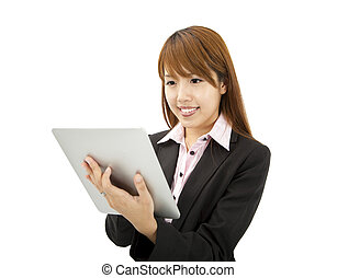 young businesswoman using tablet pc