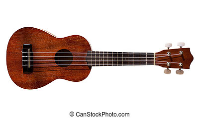 Hawaiian ukulele guitar with four strings isolated on white...