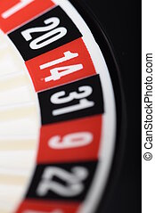 Close view of casino roulette with focus on number thirteen