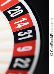 cierre, vista, casino, ruleta, foco, número, trece