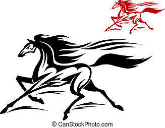 Running stallion - Fast running stallion in two variations...
