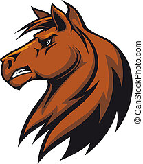 Brown stallion head for mascot or equestrian sports design