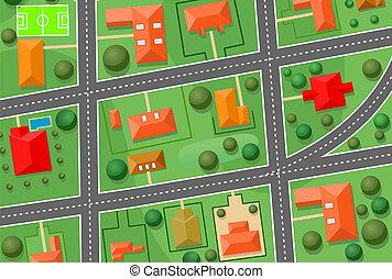 mapa, cabana, vila