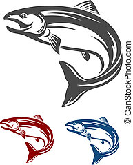 Salmon fish - Jumping salmon fish in retro style isolated on...