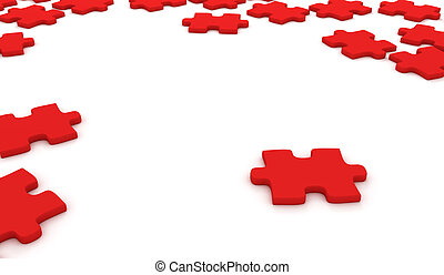 Red puzzle pieces