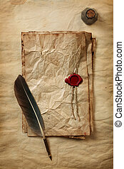 Blank paper with wax seal, quill and ink - Blank paper with...