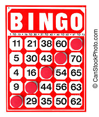 bingo - Red bingo card with winning chips