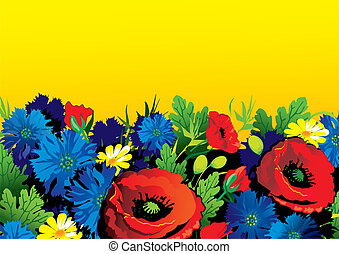 Flowers - Beautiful flowers on a yellow background Place for...