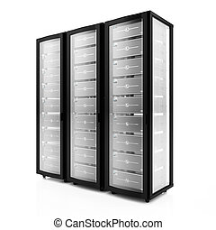 Servers - 3d render of multiple rack servers on white...