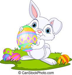 Easter. Bunny carrying egg - Cute Easter bunny carrying egg...