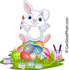 Easter. Bunny sitting on eggs - Cute Easter bunny sitting on...