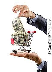 Shopping cart full of money