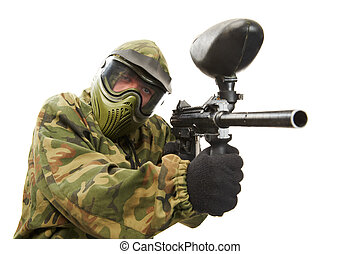 Aiming paintball player - Aiming paintball sport player man...