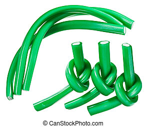 Green gummy candy (licorice) rope set, isolated on white...