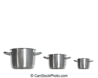 Pots And Pans - Pots and pans isolated against a white...
