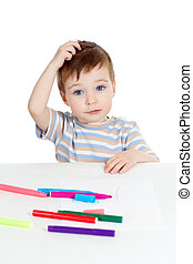 little puzzled child with color pen over white