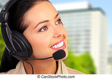 Call center operator woman. - Young business woman with...